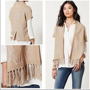 Anthropologie- Angel North icebloom fringe sweater